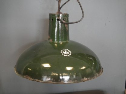 Emaille lamp donkergroen